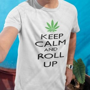 Keep Calm And Roll Up Pot Leaf Mens T Shirt White